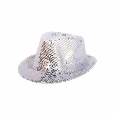 Zilveren pailletten hoedje volwassenen