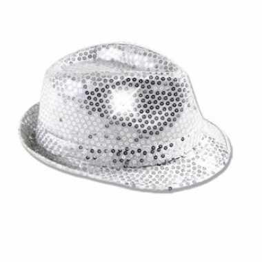 Zilveren pailletten verkleed hoedje led licht voor volwassenen