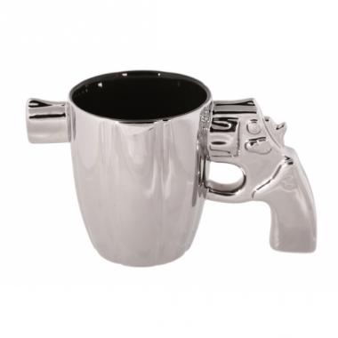 Zilveren revolver mok met loper