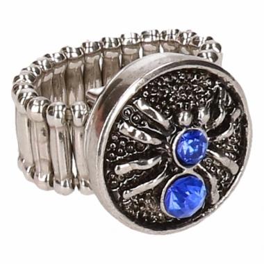 Zilveren ring met blauwe spin drukknoop
