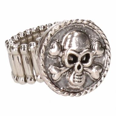Zilveren ring met doodshoofd drukknoop