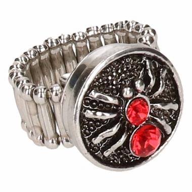 Zilveren ring met rode spin drukknoop