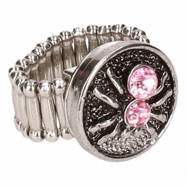 Zilveren ring met roze spin drukknoop