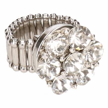 Zilveren ring met zilveren steentjes drukknoop