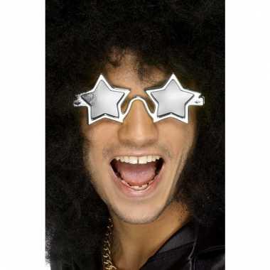 Zilveren sterren disco bril voor volwassenen