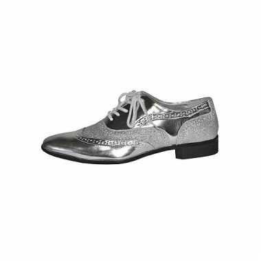 Zilveren verkleed party schoenen voor heren