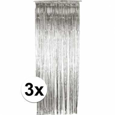 Zilveren wand, deur of raam gordijn 3 stuks
