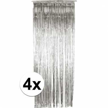 Zilveren wand, deur of raam gordijn 4 stuks