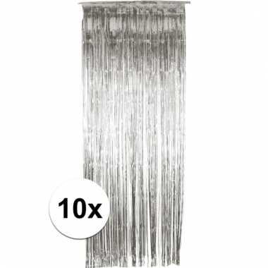 Zilveren wand, deur of raam gordijn 6 stuks