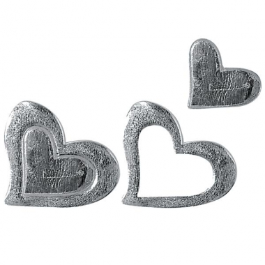 Zilverkleurige wassen hartjes voor op kaarsen
