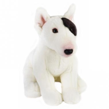 Zittende bull terrier hondje knuffeldier 23 cm