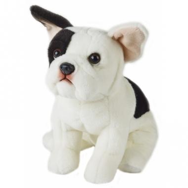 Zittende franse bulldog hondje knuffeldier 23 cm