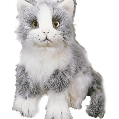 Zittende katten wit grijs pluche 20 cm