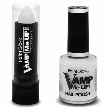 Zombie schmink set mat witte lippenstift en nagellak