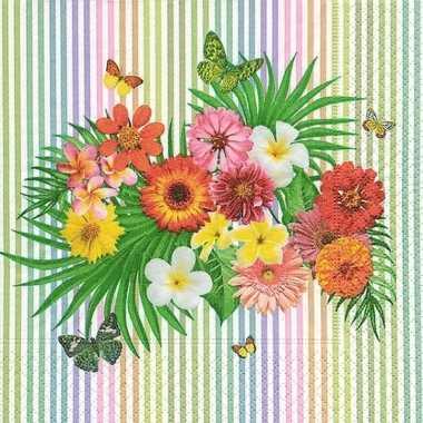 Zomerse bloemen thema servetten 40 stuks