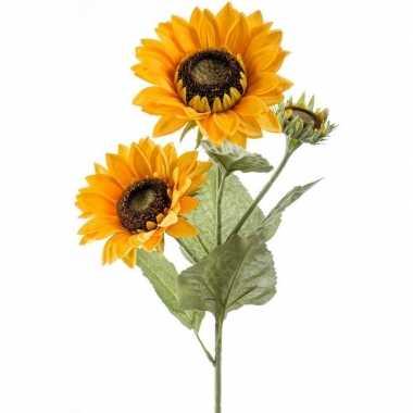 Zonnebloemen kunstbloem tak 62 cm 3 bloemen geel
