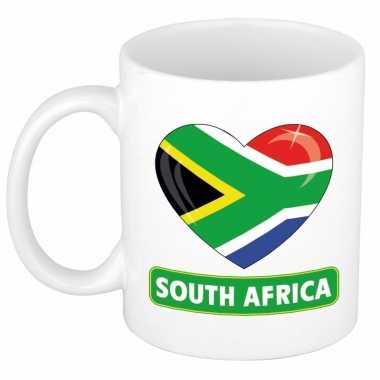 Zuid afrikaanse vlag hartje koffiemok 300 ml