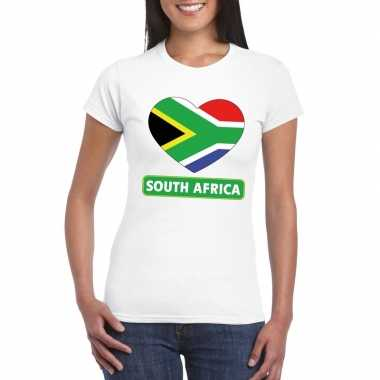 Zuid afrikaanse vlag in hartje shirt wit dames