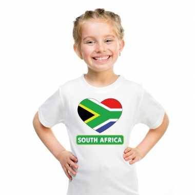 Zuid afrikaanse vlag in hartje shirt wit kind