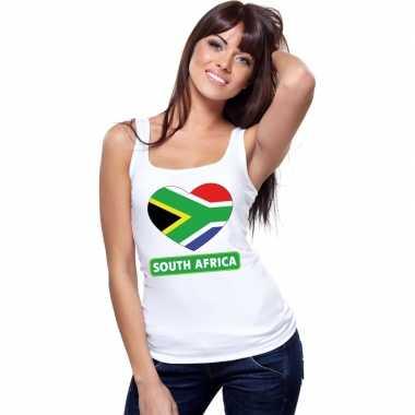 Zuid afrikaanse vlag in hartje singlet wit dames