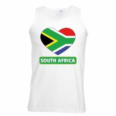Zuid afrikaanse vlag in hartje singlet wit heren