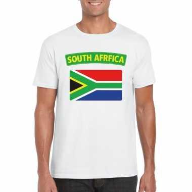Zuid afrikaanse vlag shirt wit heren