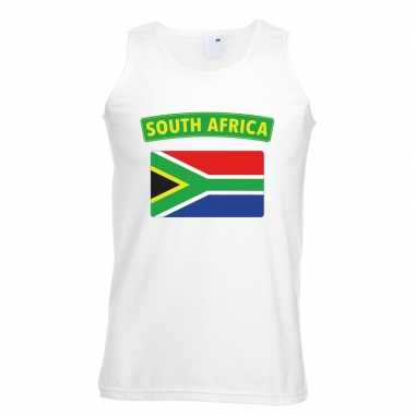 Zuid afrikaanse vlag singlet wit heren