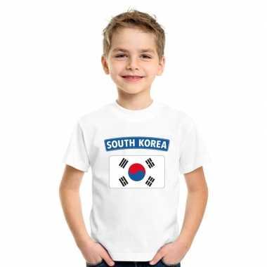Zuid koreaanse vlag kinder shirt wit