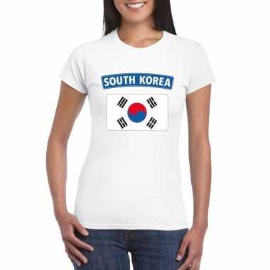 Zuid koreaanse vlag shirt wit dames