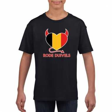 Zwart belgie rode duivels hart-shirt kinderen