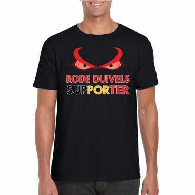 Zwart belgie rode duivels supporter shirt heren