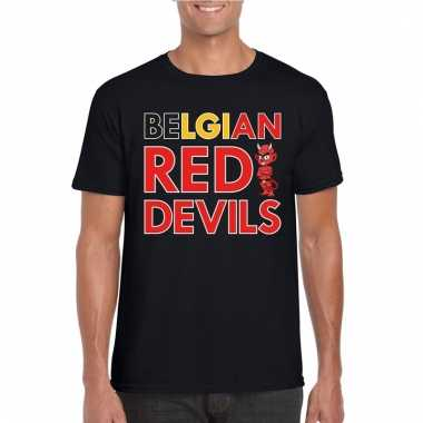 Zwart belgium red devils supporter shirt heren