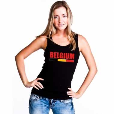 Zwart belgium supporter singlet shirt/ tanktop dames