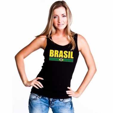 Zwart brazilie supporter singlet shirt/ tanktop dames