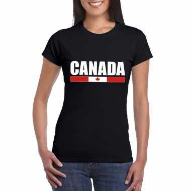Zwart canada supporter t-shirt voor dames