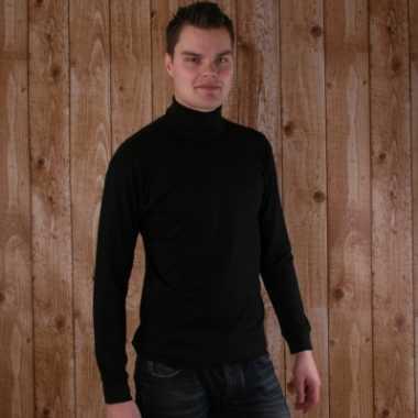 Zwart col t-shirt voor pieten kostuum 100% katoen voor heren