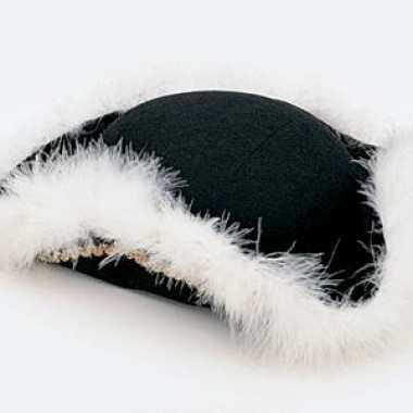 Zwart dansmarietje hoed met goud