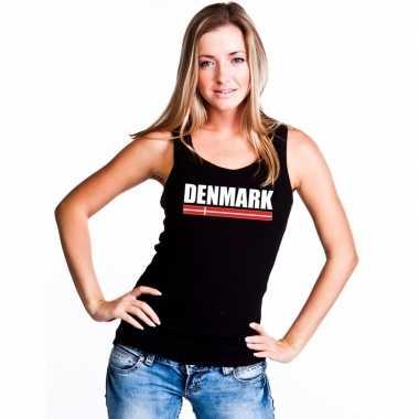 Zwart denemarken supporter singlet shirt/ tanktop dames