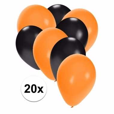 Zwart en oranje halloween ballonnen 20 stuks