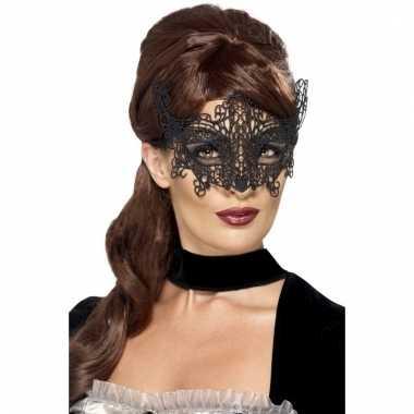 Zwart geborduurd kanten oogmasker voor dames
