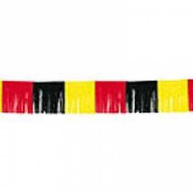 Zwart, geel, rode franje slinger