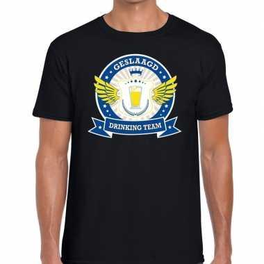Zwart geslaagd drinking team t-shirt heren