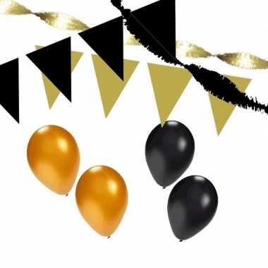 Zwart/gouden feest versiering pakket xl