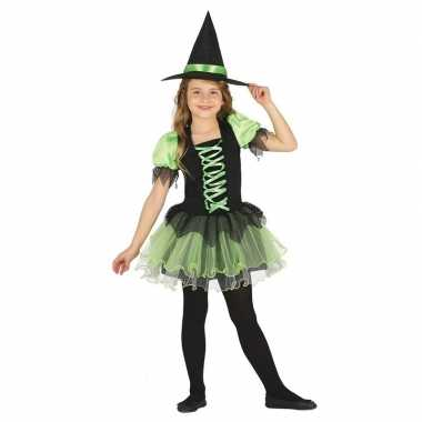 Zwart/groen heksen kostuum voor meisjes