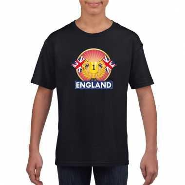 Zwart groot brittannie/ engeland supporter kampioen shirt kind