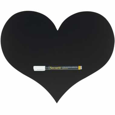 Zwart hart krijtbord 36 cm inclusief stift