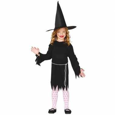 Zwart heksen kostuum budget voor meisjes