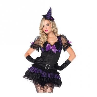 Zwart heksen kostuum met hoedje
