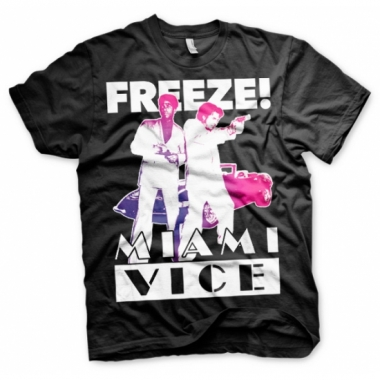 Zwart heren t-shirt miami vice freeze