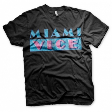 Zwart heren t-shirt miami vice logo